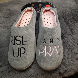 Woman's Rise Up and Pray grey slippers Size L 8-9